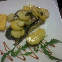 Trancio di rombo al  forno con patate
